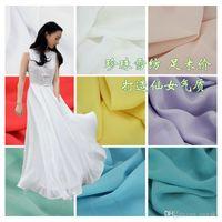 Wholesale Pearl Chiffon Fabric Thick Elastic Opaque d Shirt Dresses Materials Pure Color Width cm Cheap