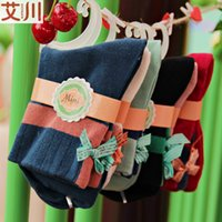 Wholesale New winter bow combed cotton socks socks for ladies handmade wood barrel socks factory