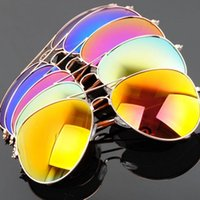 Wholesale 2015 new men s sunglasses Bright color film sunglasses Metal frames Driving mirror reflective sunglasses free Epacket