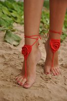 Wholesale 1 pair latest design Crochet Barefoot Sandals Nude shoes Foot Jewelry Wedding Victorian Lace Sexy Anklet Bellydance Beach Footwear