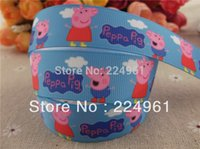 "Cheap 2013 new arrival 7 8"" (22mm) peppa pig grosgrain ribbon cartoon ribbon hair accessories 10 yards"