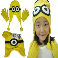 Wholesale Despicable Me Minions Children Hat Kids Winter Gloves Mittens Baby Boys Girls Hats Caps