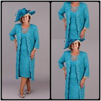tea length mother of the bride dresses with sleeves - Spring Tea Length Mother Of The Bride Lace Dresses Blue Sheer Neck Long Sleeve Groom Mother Wedding Outfits With Jacket
