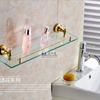 Wholesale And Retail Wall Mounted Golden Brass Storage Holders Racks Glass Tier Crystal Style Bathroom Shelf