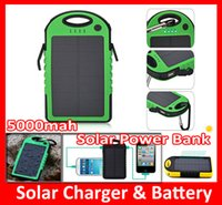 Wholesale Waterproof mAh Solar Charger and Battery Solar Panel Dual Ports portable solar power bank With Flashlight for Cell phone Camera Mobile
