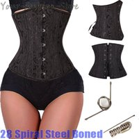animal lingerie - Spiral Steel Boned Floral Tight Underbust Waist Training Corsets TOP Cincher Bustiers Lingerie Lace Up PLUS SIZE S XL TFS