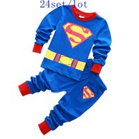 Cheap 24set lot New superman cartoon kids baby boys long sleeve t-shirt + pants suits pajamas outfits high high quality
