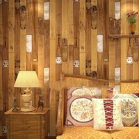 Wholesale Vintage Faux wood panel wallpaper Vinyl d wallpapers for home shop bar hotel wall decoration