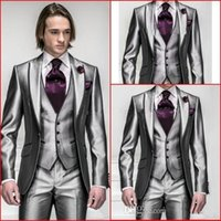 Cheap 2016 Hot Sale!Custom Made One Button Groom Tuxedos Wedding Suit for men Groomsman Suit Boys Suit Jacket+Pants+Tie+Vest Bridegroom Mens Suit