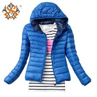 Wholesale New Women s Fashion Casual Hooded Parka Winter Coat Women Slim Black Jacket Candy colored Cotton padded Outerwear Long Sleeve Jackets TN