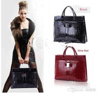 Wholesale Hot Sale Women Handbag Luxury OL Lady Crocodile Pattern Hobo Tote Shoulder Bag Black Red
