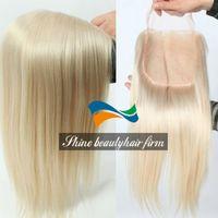 Wholesale Unprocessed Virgin Brazilian Human Hair Light Blonde Lace Closure Density Platinum Blonde Silk Base Lace Closure for White Women