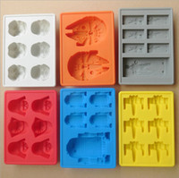 Wholesale Silicone Star Wars Ice Cube Tray Ice Chocolate cake Mold Falcon R2D2 Storm Trooper X Wing Darth Vader Hans Solo