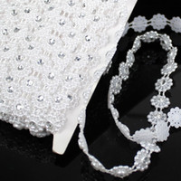 Wholesale Pearls Chain mm White Color Length m Crystal Rhinestone Mesh Trimming Pearl Chain For Wedding Clothes Decorative