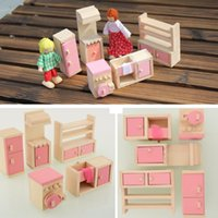 Wholesale Wooden Doll Kitchen House Dollhouse Miniature Set For Kids Child Craft