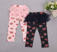 Leggings & Tights cotton leggings - Baby Girl Skirt Legging Short Summer Floral Print Cotton Skinny Pant Lace TuTu Skirts