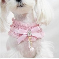 Wholesale Hot Sales Bling Dog Rhinestone Collar Pets Beads Floral Lace Collar Cat Puppy Collar FS01006