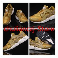 Wholesale 2016 New Cheap Air Huarache Running Shoes For Women And Men Brand Breathable Huaraches Tyrant gold couple shoes Trainers Eur Size
