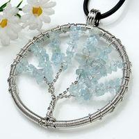 aquamarine necklace stone - 10X Charm Aquamarine Malachite etc Natural Stone Gravel Winding Pendants Accessories Silver Plated Round Tree Of Life Fashion Jewelry