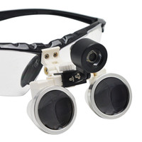 Wholesale 2 X320mm Black color Dental Medical Binocular Loupes Optical Glass Loupe LED Head Light Lamp