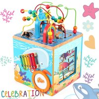 Cheap Ocean surrounded by large multifunctional baby educational early childhood around the bead beaded wooden toy treasure chest to knock piano