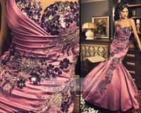 Cheap 2015 Fuchsia Formal Evening Dresses Kaftan Arabic Dubai Spaghetti Straps Sweetheart Mermaid Taffeta Pageant Gown Party Celebrity Prom Dress