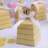 bee birthday cards - 100PCS Yellow Honey Bee Wedding Baby Shower Birthday Party Favor Creative Graphics Gift Box Candy Boxes Favors
