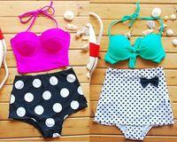 bikini bottoms - Hot Women s Fashion High Waisted Swimwear Girls Sexy Lace up Bikini Lady Retro Polka Dot Bikinis Swimsuit bathing Suit Top Bottom pieces