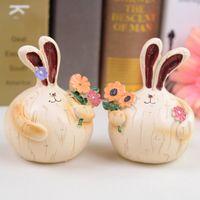 Wholesale 2014 Rabbit lovers fashion resin home decoration wedding gift decoration crafts