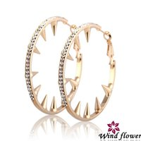 Wholesale Popular Europe Personality Crystal Hoop Earring Jewelry Wind Flower High Quality Material Fashion Earring Modern Style Design Jewelry