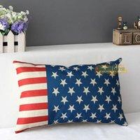 ative pillows - Vintage ative Pillow Case Cotton Linen USA England Flag Cover