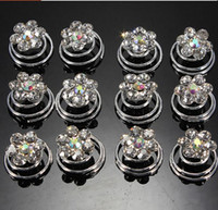 Wholesale New Flower Clear Crystal Diamate Wedding Bridal Prom Hair Twists Spiral Coils Hairpins Styling Fashion hair Accessories Tool for bridal