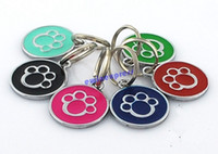 Wholesale Metal Dog Paw footprints Style Pendant Dog Necklace Name Tag Pets Identity ID Card Key Chain Pet Collar Charm