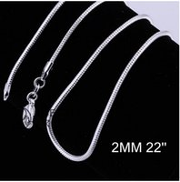 al por mayor hombres mujeres hermosas-2MM 16-24inches promociones Preciosas 925 MUJERES de las MUJERES de la plata esterlina de los HOMBRES Moda linda de la alta calidad del collar de la cadena para el colgante