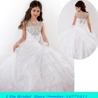 beauty pageant dresses - 2016 Girl Pageant Dresses White Luxury Beaded Toddler Beauty Pageant Dresses For Juniors Teens Girls Pageant Gowns