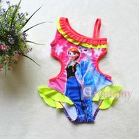 beach items - New hot items cartoon printed baby girls swimsuit girl swimwear ruffled one shoulder kids bath suit children beach clothes