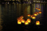 sky lanterns - Paper Lanterns Water Floating Light Square Chinese Lanterns Water Blessing Light Festival Lanterns Floating Wishing Light Water Candle Light