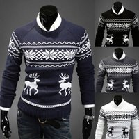 Wholesale Newly Fashion Men s Pullover Little Fawn Sweater Men Slim Ugly Christmas Sweaters Outerwear