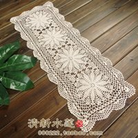 Wholesale Fast fashion handmade hook needle flower lace cotton table cloth runner cover fashion vintage cutout table runner