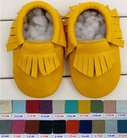 0-2years baby cows sale - 54Pair hot sale baby fringe moccasins girls boys fringe moccs Top Layer soft cow leather moccs baby walking booties toddler shoes