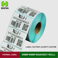 Wholesale High quality thermal paper mmx50mm for printer one roll label sticky paper support custom logo self adhesive labels