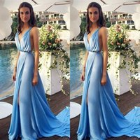 Wholesale Strapless Open Side Prom Dresses - Blue Chiffon 2015 Sexy Summer Evening Dresses with Long Train Deep V Neck Side Slit Open Back Popular Prom Dresses