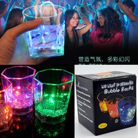 Wholesale Water Activated Colorful luminous LED Flash Light Drinkware Bubble Rocks Flashing light Glass Wine Cup For Pub Club Wedding Party