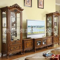 Wholesale American country solid wood TV cabinet furniture set European retro living room TV cabinet