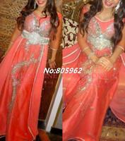 dubai - Fashion A Line Scoop Chiffon Kaftan Dubai Fancy Farasha Abaya jalabiya Islamic Sleeve Beaded Prom Gowns Long Evening Dresses