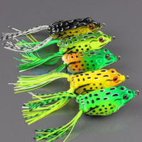 Wholesale 5pcs Different Color Topwater Frog Hollow Body Fishing Soft lure Lure Crankbait Bass Hook Baits g cm