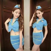 airlines clubs - new Sexy Lingerie Sexy Cosplay club bar airline stewardess uniforms overalls uniforms sexy DS show