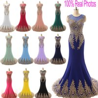 green wedding dress - Real Image Sheer Neck Formal Evening Prom Dresses Lace Appliques Stretch Red Royal Navy Blue Blush Green Wedding Mother Gowns Arabic