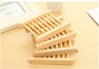 tray wooden tray - 100PCS Novelty Households Product Wood Soap Dishes Tray Wooden Box For Sponge Holder Bathroom Accessories EZ1