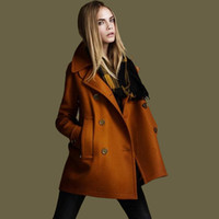 Lapel Neck atmosphere sales - New winter hot sale solid long sleeve double breasted wool coat stylish atmosphere trench women abrigos casaco femininoCT33